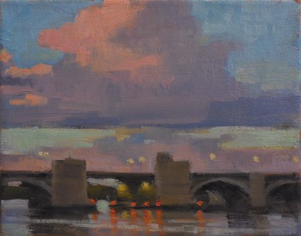 """Sunset, Washington Bridge"" original fine art by Kathy Weber"