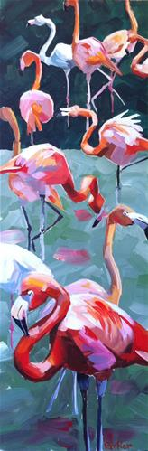 """Flamboyance of Flamingos"" original fine art by Teddi Parker"