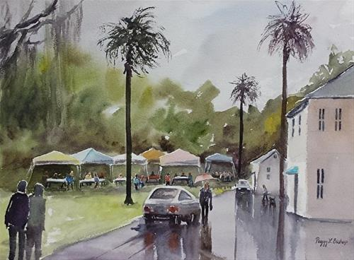 """Rainy Festival"" original fine art by Peggy Bishop"