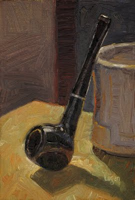 """Pipe and Mug"" original fine art by Raymond Logan"