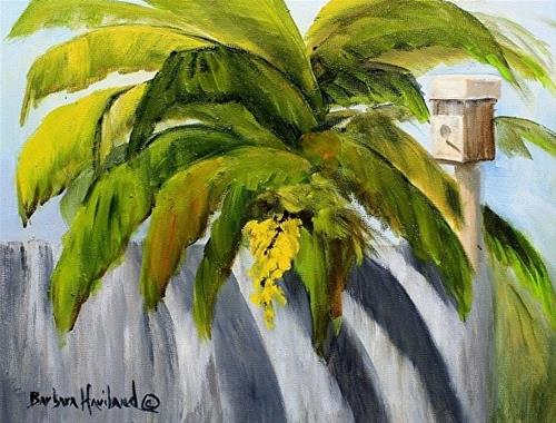 """Banana Leaves and Bird House"" original fine art by Barbara Haviland"