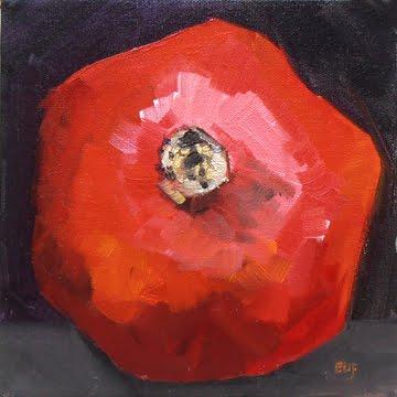 """#39 - Quick Pomegranate"" original fine art by Elizabeth Dawn Johnston"