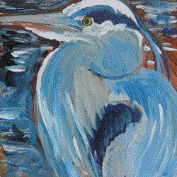 """Henry the Heron"" original fine art by Darlene Young"