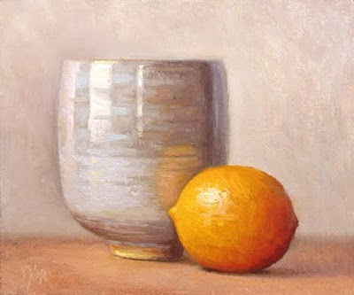 """Still Life with Meyer Lemon and White Cup"" original fine art by Abbey Ryan"