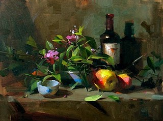 """Backyard Harvest"" original fine art by Qiang Huang"