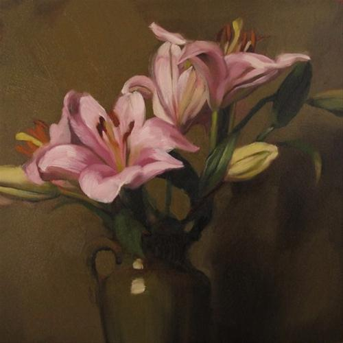"""Lily Moment small original oil painting"" original fine art by Diane Hoeptner"