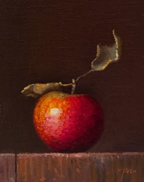"""Local Apple with Leaves"" original fine art by Abbey Ryan"