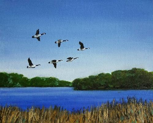 """Geese over Redhaw"" original fine art by Steve Gibson"