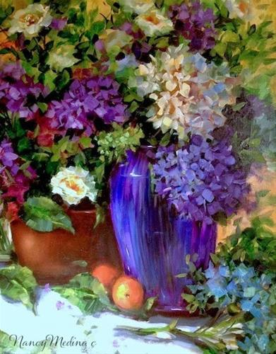 """Painting Hydrangeas in Tennessee by Floral Artist Nancy Medina"" original fine art by Nancy Medina"