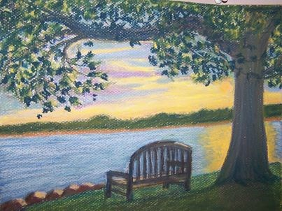 """Summer Sunset at Oxford"" original fine art by Elaine Shortall"