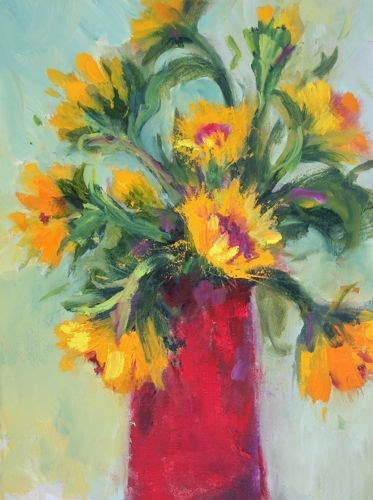 Red Vase, Contemporary Still Life by Arizona Artist Amy Whitehouse original fine art by Amy Whitehouse