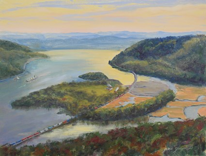 """Boats and Trains Along the Hudson"" original fine art by Jamie Williams Grossman"