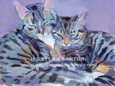 """Hugs, Purrs and Stripes"" original fine art by Kimberly Santini"
