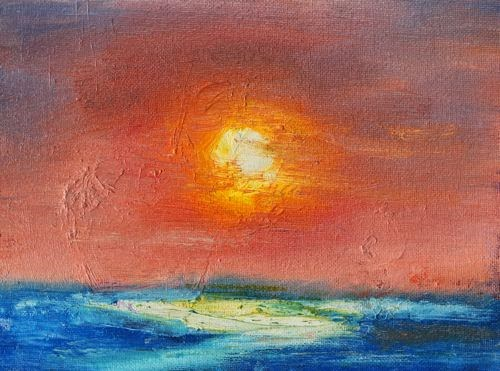 """Sunset, Contemporary Landscape Paintings by Arizona Artist Amy Whitehouse"" original fine art by Amy Whitehouse"