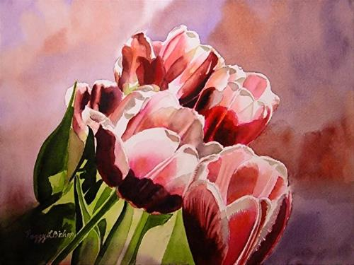 """Valentine Tulips"" original fine art by Peggy Bishop"