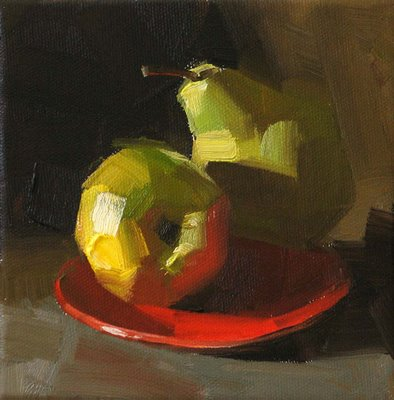 """A Pair of Pears --- Sold"" original fine art by Qiang Huang"