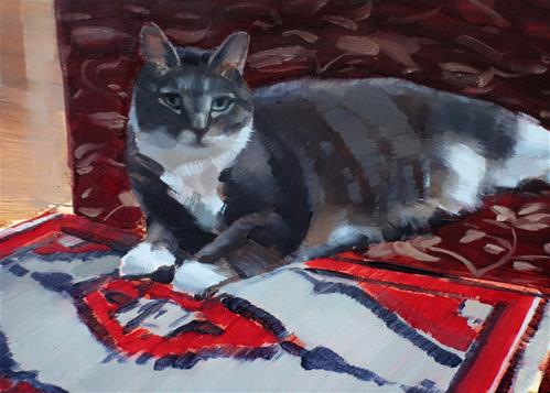 """Izzy on Oriental Rug (no.134)"" original fine art by Michael William"