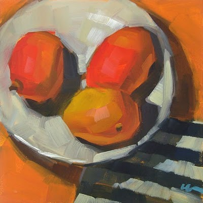 """Mango Stripes --- SOLD"" original fine art by Carol Marine"