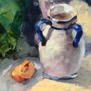 """Day 6 of 30 ""Just Peachy"""" original fine art by Melissa Jander"