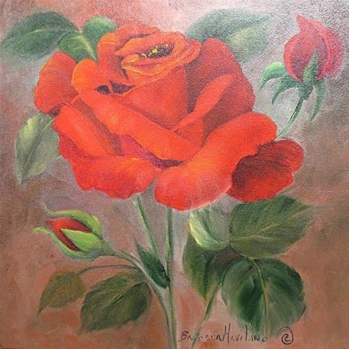 """Red Roses and Green Leaves"" original fine art by Barbara Haviland"