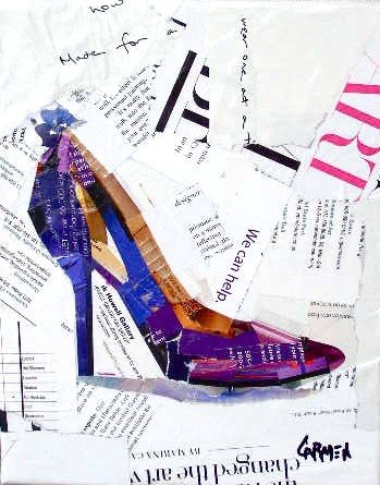 """Purple Shoe, Collage, 10X8"" original fine art by Carmen Beecher"