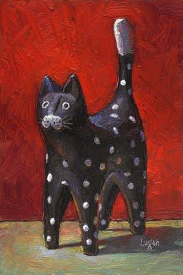 """Cat Figurine"" original fine art by Raymond Logan"