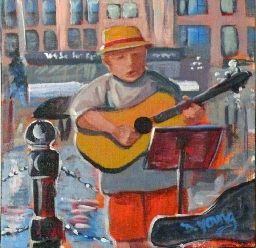 """Little Busker"" original fine art by Darlene Young"