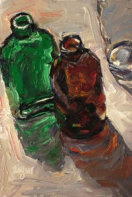 """Bottles"" original fine art by Raymond Logan"