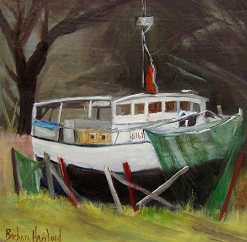 """Boat in Dry Dock   oil painting,miniature"" original fine art by Barbara Haviland"