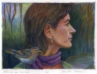 """Dry Point Engraving: Bird on her Shoulder"" original fine art by Belinda Del Pesco"