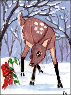 """Christmas Baby Deer"" original fine art by Patricia Ann Rizzo"