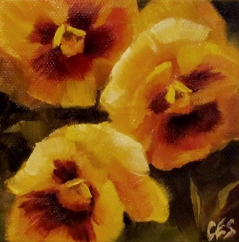 """Yellow Pansies"" original fine art by ~ces~ Christine E. S. Code"