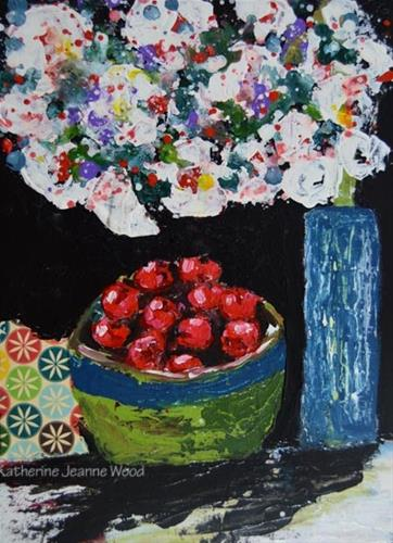 """Bowl of Cherries and Cherry Blossoms – Floral Painting No 88"" original fine art by Katie Jeanne Wood"