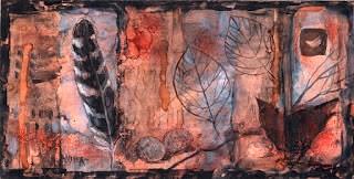 """""""Avian Symbols - Alcohol Ink."""" original fine art by Julie Ford Oliver"""