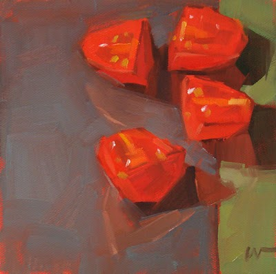 """Tomatos on Glass --- SOLD"" original fine art by Carol Marine"
