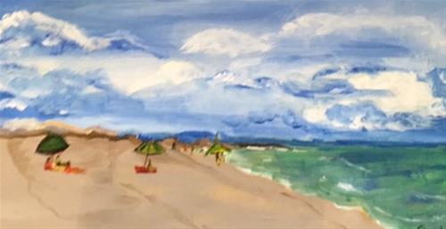 """""""Newport , RI  Beach"""" original fine art by Sheila Clark Lundy"""