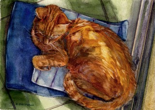 """Watercolor: Sunshine Snooze"" original fine art by Belinda Del Pesco"