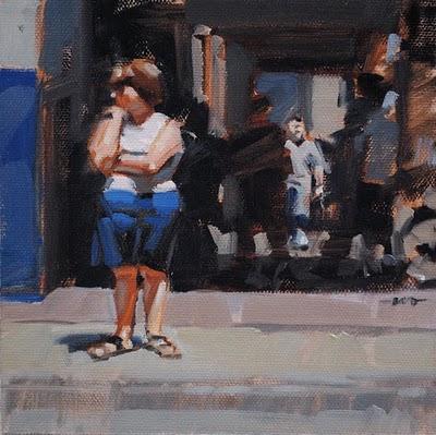 """Waiting to Cross"" original fine art by Carol Marine"