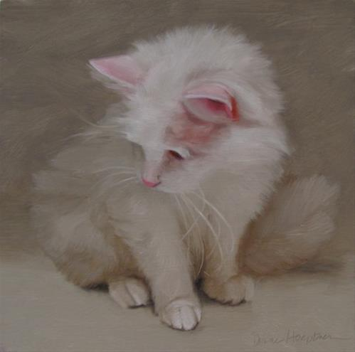 """""""Snow the cute senior cat and 3rd Friday at 78th ST Studios"""" original fine art by Diane Hoeptner"""