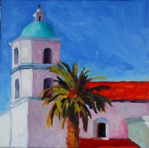"""California Mission"" original fine art by Liz Zornes"