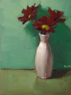 """'Maroon Flowers"" original fine art by Carol Marine"