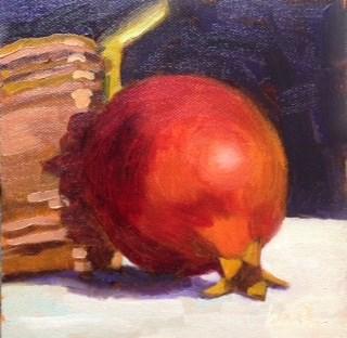 """Pomegranate with Copper"" original fine art by Bobbi Heath"