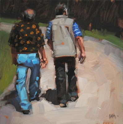 """Walking Off Lunch"" original fine art by Carol Marine"