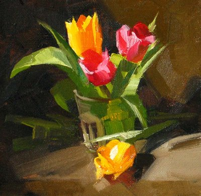 """Tulips --- Sold"" original fine art by Qiang Huang"