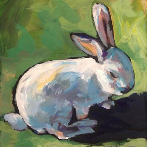 """Sunshine Bunny"" original fine art by Kat Corrigan"