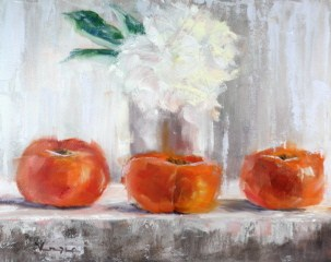 """still life with three persimmon and white flower"" original fine art by Carrie Venezia"