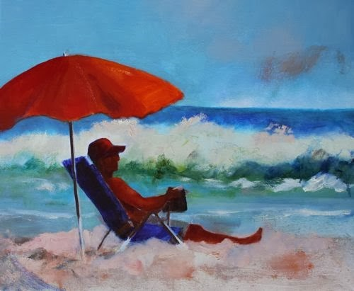 """Beach Day, Contemporary Figurative Paintings by Arizona Artist Amy Whitehouse"" original fine art by Amy Whitehouse"