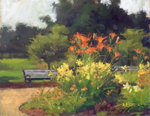 """Lily garden"" original fine art by Kathy Weber"