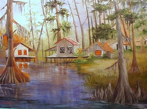 """Camps Along the Bayou"" original fine art by Barbara Haviland"