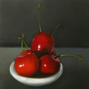 """Five Cherries 4x4"" original fine art by M Collier"